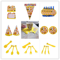 New Hot Party Smiley Set Invitation Card Flag Popcorn Box Hat Blow The Dragon Plate Fork