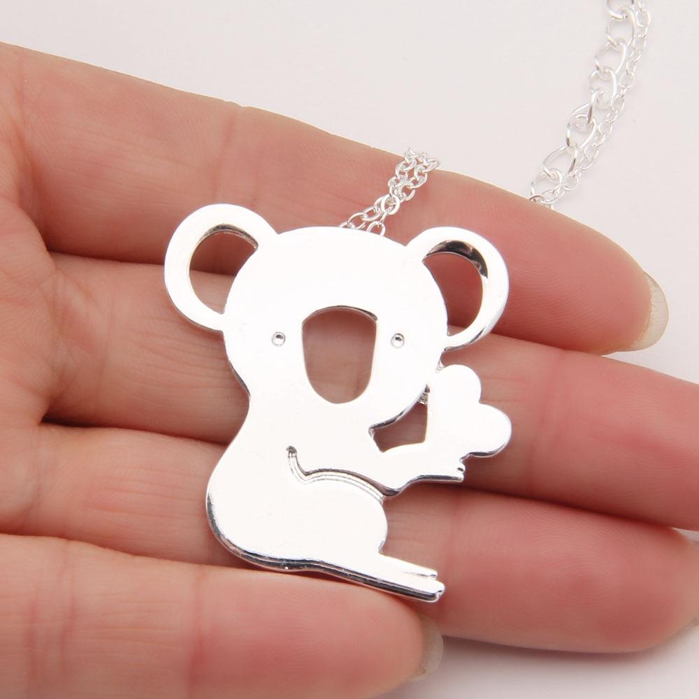 Pcs koala necklace heart cute delicate necklaces pendants gold