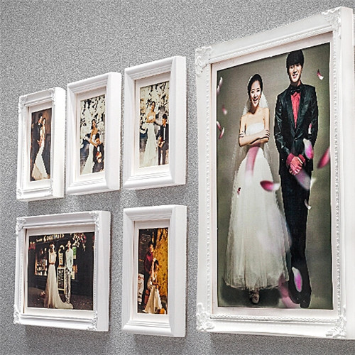 6pcs/set Pure White Wood Picture Frames Home Decor Wall ...