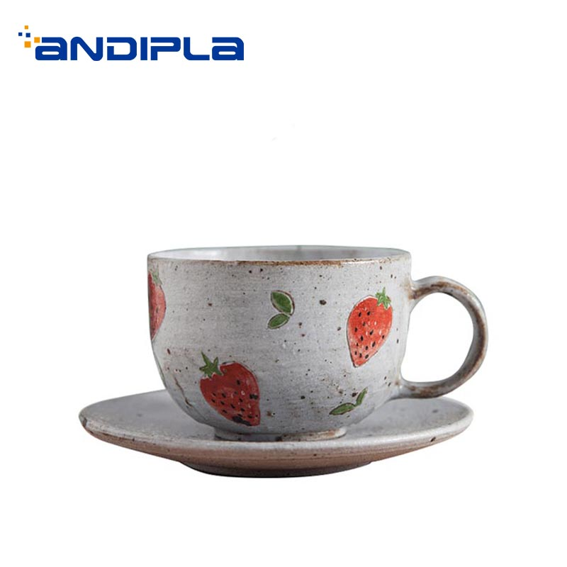 230ml Pastoral Style Coffee Cup with Saucer Kit Strawberry Pattern Ceramic Milk Cups Hand Grip Mug Home Drinkware Birthday Gifts