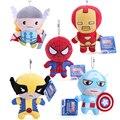 Los Vengadores Super Heroes Juguetes de Peluche Iron Man Thor Spider-man Capitán América Logan Muñecos de Peluche 11 CM 5 unids/lote