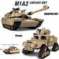 Новый 1463 ШТ./КОМПЛ. Классический M1A2 ABRAMS MBT Основной Боевой Танк Hummer Модель Строительные Блоки Кирпич Коллективное Издание Игрушки На Рождество подарок