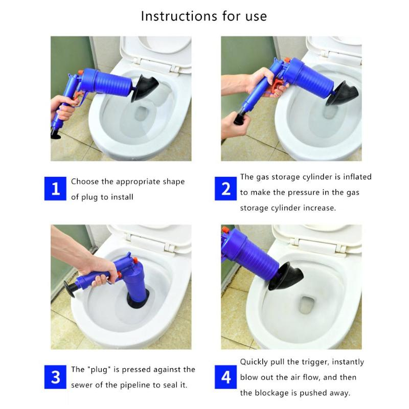 Hot Air Power Drain Blaster Gun With High Pressure And Cleaner Pump For Toilets Showers Bathroom 6