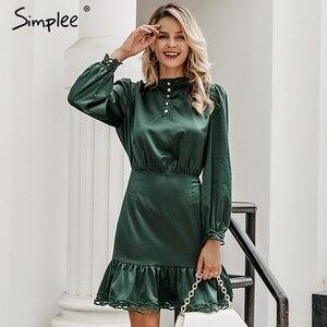 Image 3 - Simplee בציר תחרה מכפלת פרע נשים שמלה ארוך שרוול סטנד צוואר מיני גבירותיי שמלות גבוהה מותן נקבה סתיו שמלת vestidos