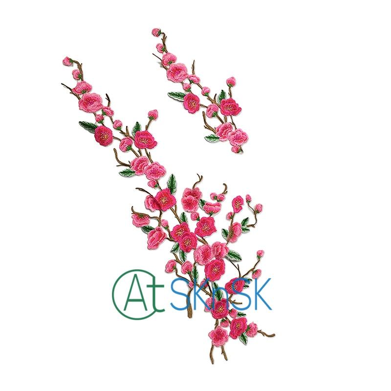 Grande broderie 69*26 cm taille Meihua fleur Patch couleur rose large 26 cm Wintersweet fleur pour appliques à coudre patchs brodés