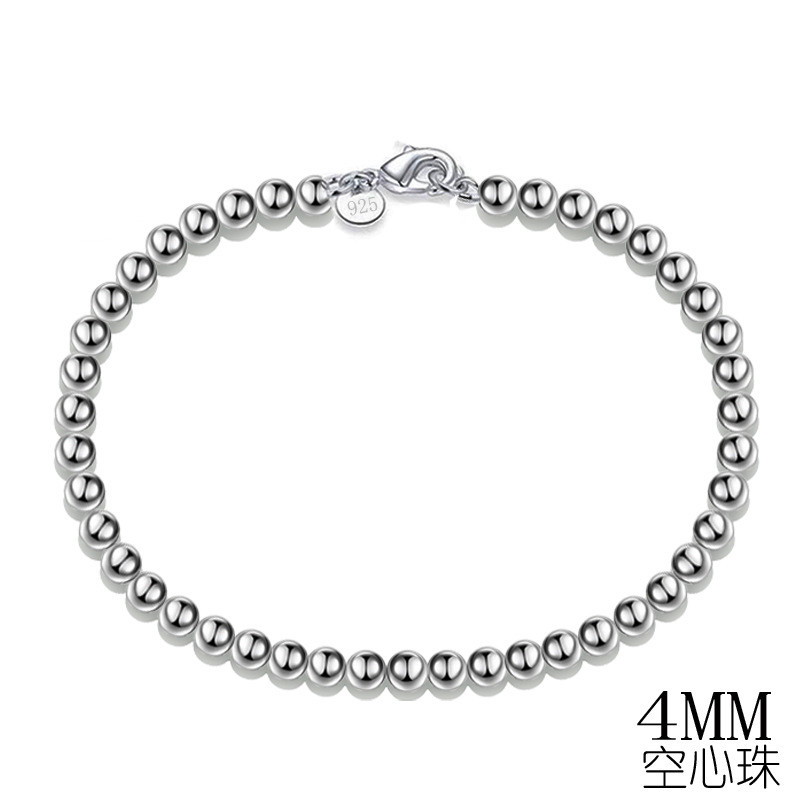 Free Shipping Wholesale silver plated Jewelry Bracelet Fine Fashion 4MM Rosary Hollow Ball Bracelet Bangle Top Quality(20pcs)
