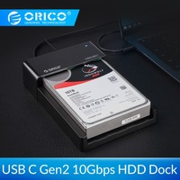 ORICO 2.5/3.5 inch Hard Drive Dock 10Gbps SATA To USB 3.1 Gen2 Type C HDD Enclosure 12V Power Adapter Support 12TB Max