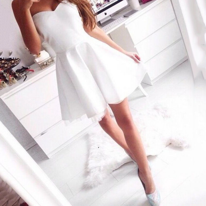 Trust LinDa Sexy Sweetheart Mini   Bridesmaid     Dresses   Simple White Satin Short Party Wear   Dress   Prom Gowns 2018 Robe de Soiree
