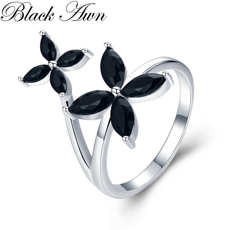 Romantic Flower 2.9g 925 Sterling Silver Fine Jewelry Flower Engagement Black Spinel Engagement Ring For Women G032