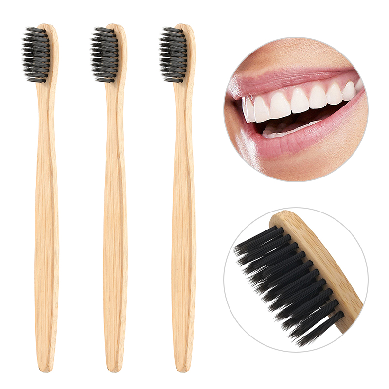 3 pcs Eco-friendly Natural Bamboo Toothbrush 8 Color Round Flat Bamboo Handle Soft Bristle Healthy Adult Toothbrush