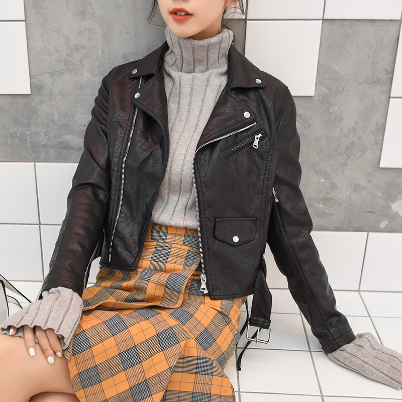 Women's Short PU   Leather   Jacket Long Sleeve Turn-down Collar with Belt Autumn Korean Locomotive Women's Jacket S-XL New Arrival