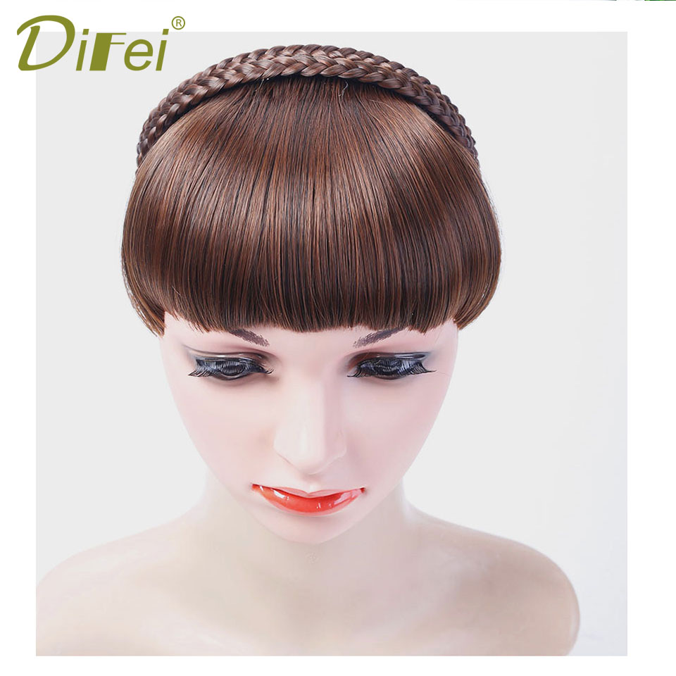DIFEI Hairband Hairpin Double Row Of Heat-Resistant Chemical Fiber Straight Bangs Seamless Wig Bangs