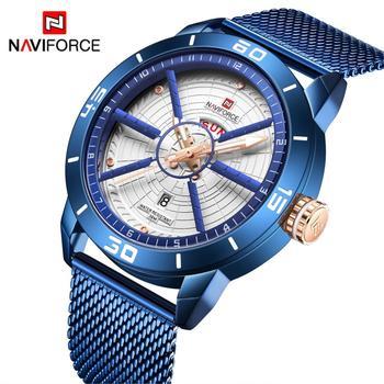 NAVIFORCE Mens Watches Top Brand Luxury Sport Watch Mesh Steel Date Week Waterproof Quartz Watch for Men Clock Relogio Masculino