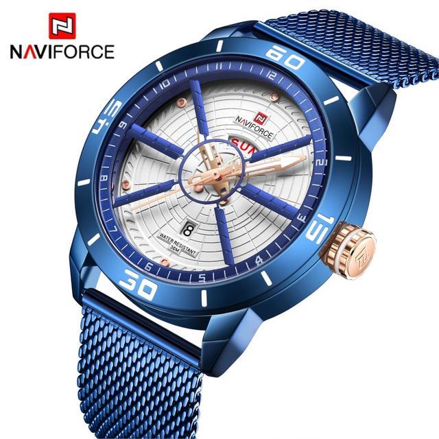 NAVIFORCE relojes superior de la marca de lujo de deporte reloj de acero de malla de fecha semana resistente al agua reloj de cuarzo para hombres reloj Relogio Masculino