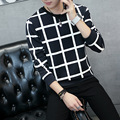 New Fashion Mens Stripes Check Pullover Teens Space Cotton Stripes And Checks Hoody Hoodies Pullover