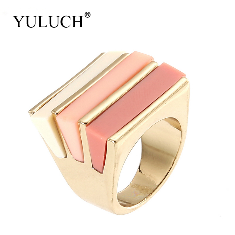 YULUCH 21mm Resin Stone wholesale Party/Wedding Rings for Women/Girls Gold Metal Cocktail High Quanlity Romantic Pink/ Rose Ring