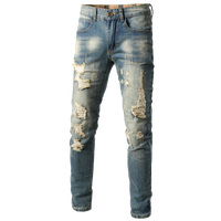 2019 Fashion Streetwear Men's Jeans Vintage Blue Gray Color Skinny Destroyed Ripped Jeans Broken Punk Pants Hip Hop Jeans 28 38