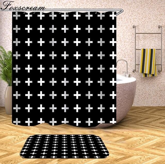 Geometric Shower Curtain Grey Bath Waterproof Bathroom
