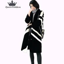 Winter sheep shearing fur coat medium-long female 2016 wool overcoat all-match