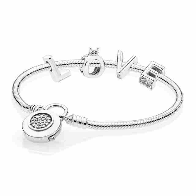 Kristie 100% 925 Sterling Silver 597092CZ RAU0486 Love CROWN CHARM LETTER  MOMENTS SMOOTH BRACELET WITH SIGNATURE PADLOCK A SetKristie 100% 925 Sterling Silver 597092CZ RAU0486 Love CROWN CHARM LETTER  MOMENTS SMOOTH BRACELET WITH SIGNATURE PADLOCK A Set