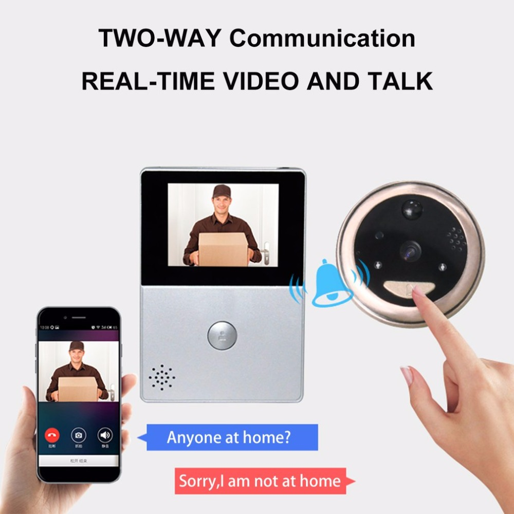 2.8 Inch LCD Wifi Peephole Wireless APP Smart Video Doorbell Night Vision HD Camera Door Intercom video-eye Support TF Card hd sony 700tvl 960h cat eye door hole