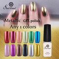 1PCS Hot Metallic Mirror Effect Gel nail polish soak off UV gel Metal gold Color Nail Art Top Manicure Tools choose 1