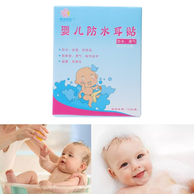 Baby Care 30 Pcs Baby Swimming Sticker Ears Care Bath Pool Waterproof Earplug Disposable