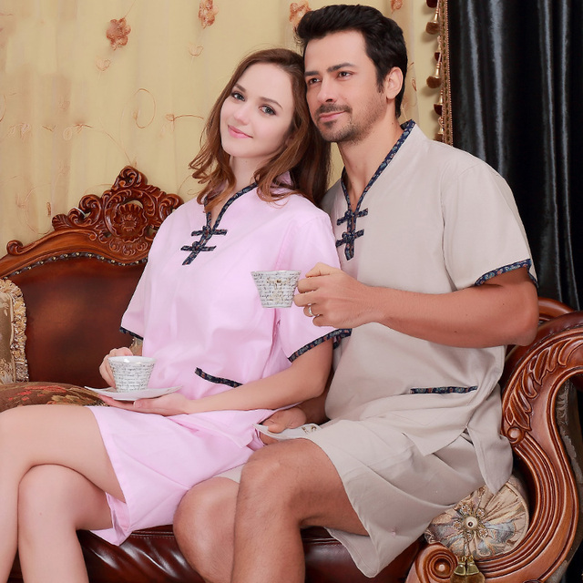 Couple Fashion Sleepwear Nightwear Summer Cotton Home Clothing Sleepwear sets For Couples