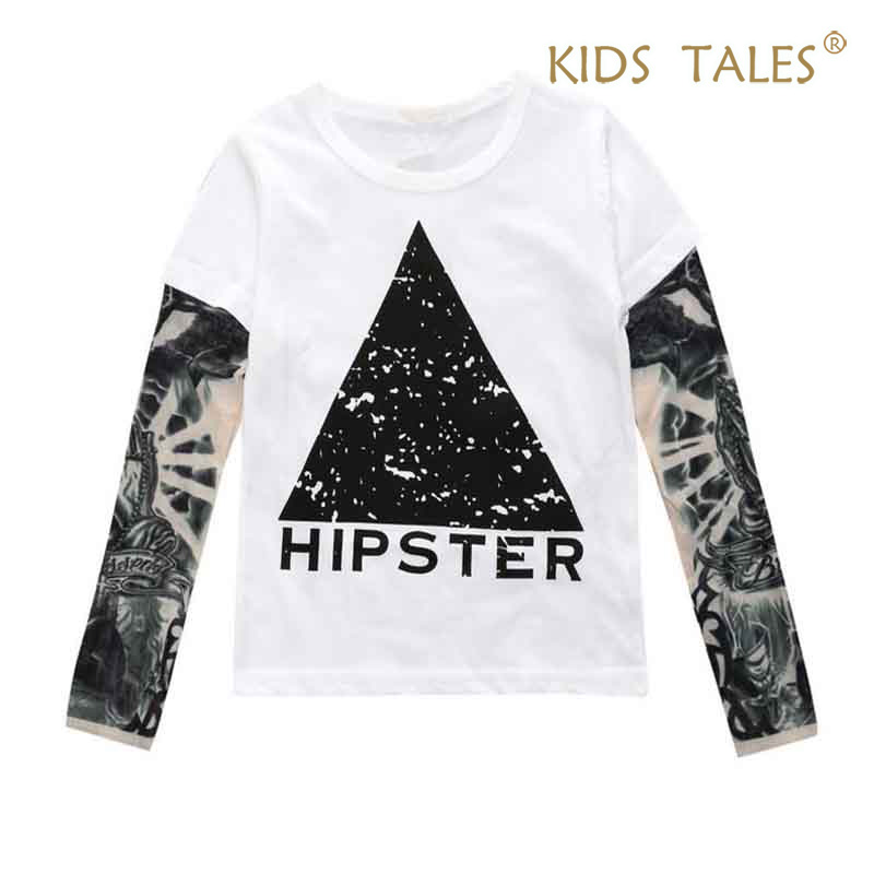 Baby Boys Girls Cool T shirts Children Tattoo Long Sleeve Cotton Tops Tees 2017 Kids Toddlers T Shirts Kids Clothes Vestidos fashion long sleeve o neck t shirt 2017 new arrival men t shirts tops tees men s cotton t shirts 3colors men t shirts m xxl