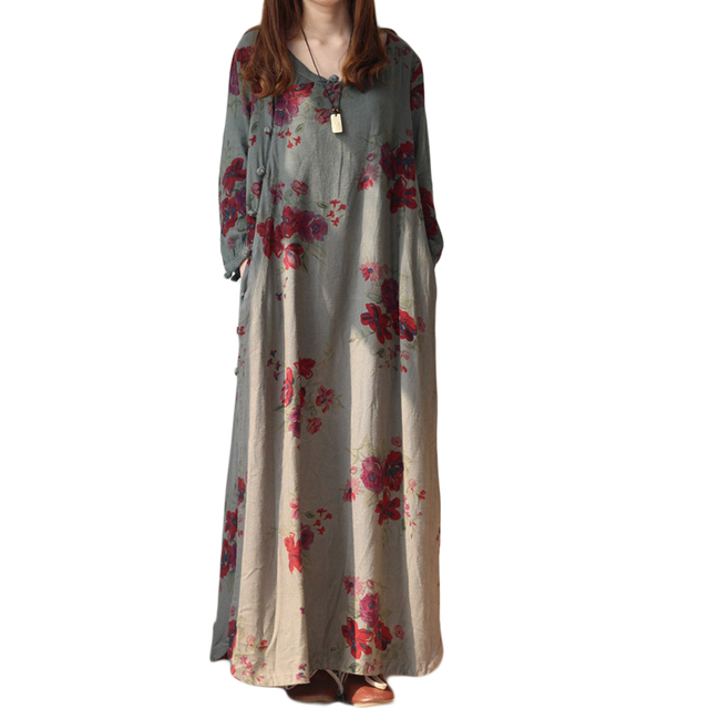 New arrive 2019 Women Print Leisure Winter Dress Ropa Mujer Loose Cotton Linen Long Robe Chinoise Floor Length Maxi Dress