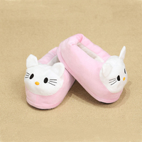 Jufoyu New Cute Animal Prints Solid Indoor Plush Slippers House Platform Flip Flops Shoes Girls Winter Shoes For Boys