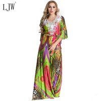 Muslim Middle Eastern Woman Dress 2017 Autumn Plus Size 7XL Half Sleeve Embroidery Colorful Rainbow Long