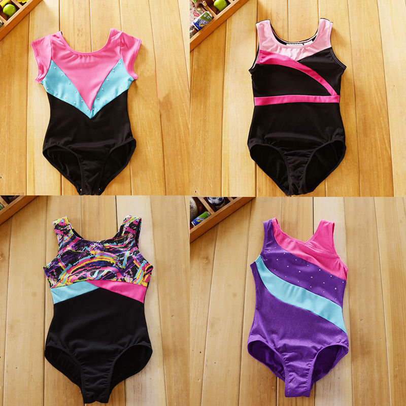 Girls Kids Toddlers Gymnastics Leotards Ballet Dance Leotards Latin Ballroom 4-12Y Dancewear Tank Spandex Child Unitard Bodysuit
