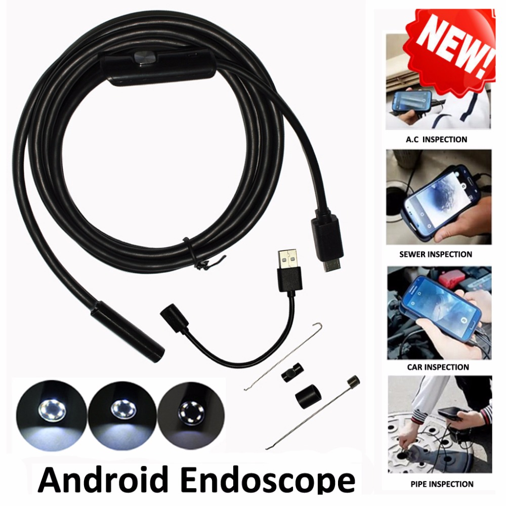 High Quality 5 5mm Len 5M Android OTG USB Endoscope Camera Flexible Snake USB Pipe Inspection