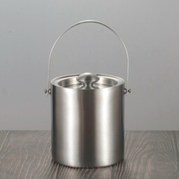 Large 2L/3L Insulated Double Walled Stainless Steel Ice Bucket With Lid For Party Bar KTV Ice Wine