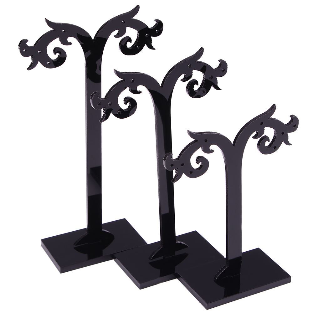 3 Pcs/Set Black Acrylic Earrings Display Stand Necklace Ring Pendant Bracelet Jewelry Organizer Holder Storage Racks 3 Size