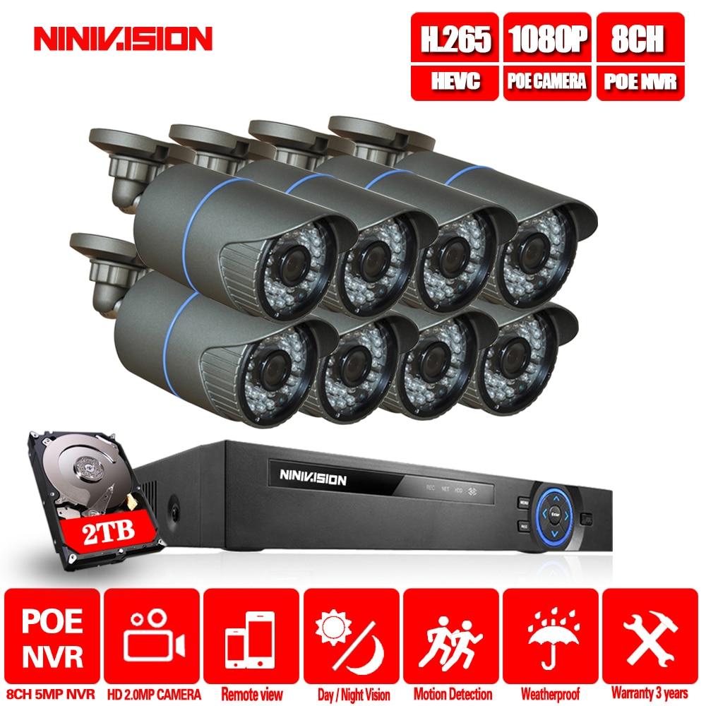 Sistema de CCTV 8CH 4MP 5MP PoE NVR Metal exterior 2.0MP IP sistema de cámara Onvif nube 1080 NVR KIT detección de movimiento noche visión NINIVIS