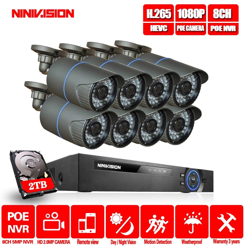Système de vidéosurveillance 8CH 4MP 5MP PoE NVR métal extérieur 2.0MP système de caméra IP Onvif Cloud 1080 KIT NVR détection de mouvement Vision nocturne NINIVIS
