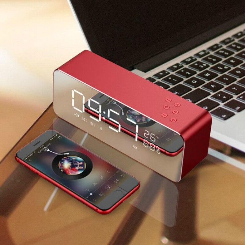 Alarme bluetooth Horloge Numérique En Métal FM Radio led Affichage Despertador Électronique Snooze Fonction Maison Mini alarme