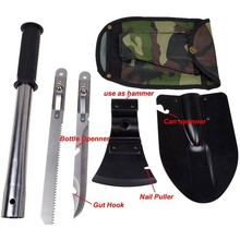 Super 4 in1 Multi-function Military Portable Folding Shovel AXE Survival Knife Saw Inside Handle Outdoor Camping Emergency Tool