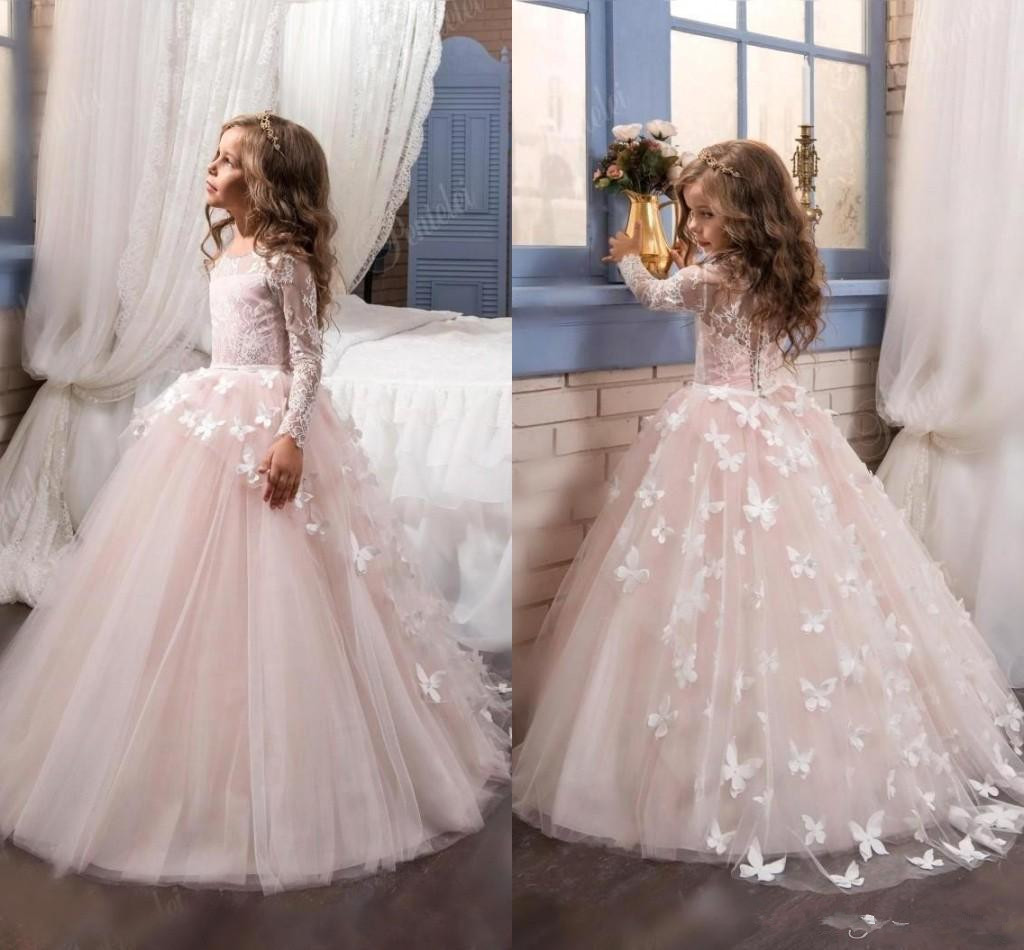 Lovely 2019 New Arrival Lace   Flower     Girl's     Dresses   Long Illusion Sleeves Jewel Neck Ball Gown Handmade Butterflies   Girl's   Pagea
