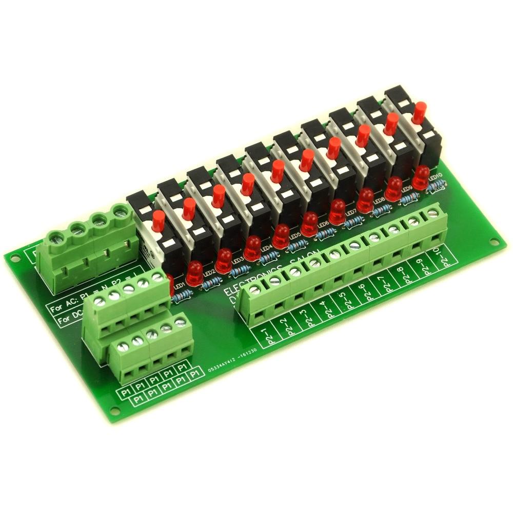 Panel Mount 10 Position Thermal Circuit Breaker Power Distribution Module.Panel Mount 10 Position Thermal Circuit Breaker Power Distribution Module.
