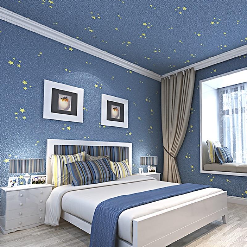 . US  21 69 30  OFF Wallpapers Youman 3D Modern TV Background Kid Room Living  Room Bedroom Star Blue Cartoon Cute Pattern Boy Girl Wallpaper Roll in