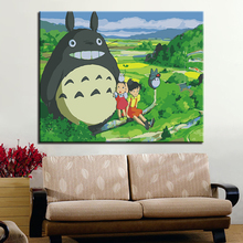 Totoro And Girl Picture By Numbers Kits Hand painted Style On Linen Canvas Home Decorative Unique DIY Cartoon Movie Painting