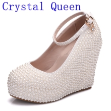 Crystal Queen Woman Platform Wedges White Ivory Pearl Crystal Rhinestone Wedding Bridal Shoes High Heels Pumps Wedges 11.5cm(China)