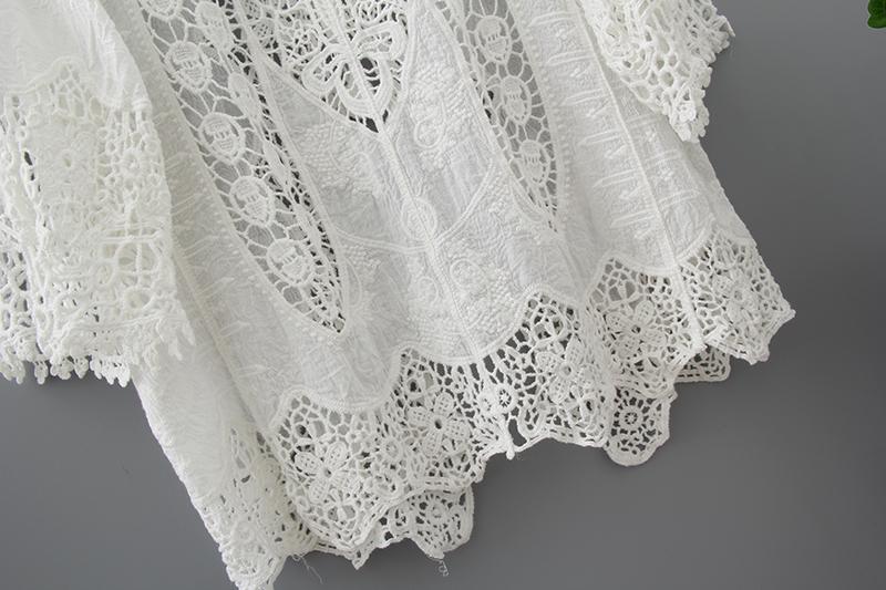 Hollow Out White Lace Blouse Kimono Summer 2019 Cotton Loose Woman Shirt Fashion Half Sleeve Kimono Cardigan Blouses Women 1806 8
