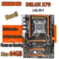 HUANAN ZHI Deluxe X79 gaming motherboard intel LGA 2011 ATX support 4 x 16GB 64GB memory PCI E x16 7.1 sound track crossfire