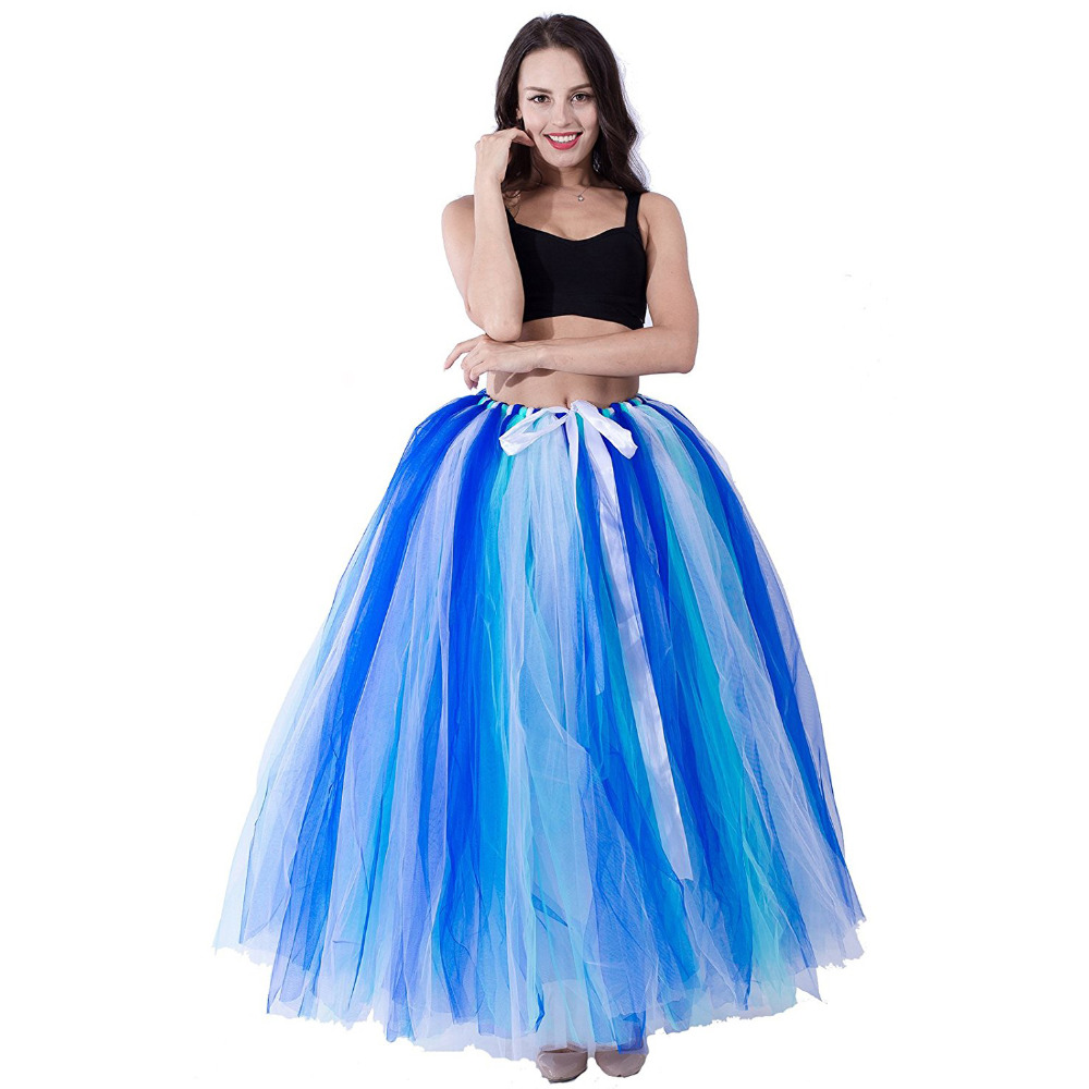Women's Floor Length Power Puffy Tutu Tulle Skirt Fairy Fancy Princess Wedding Party Porm Long Petticoat Underskirt Slips