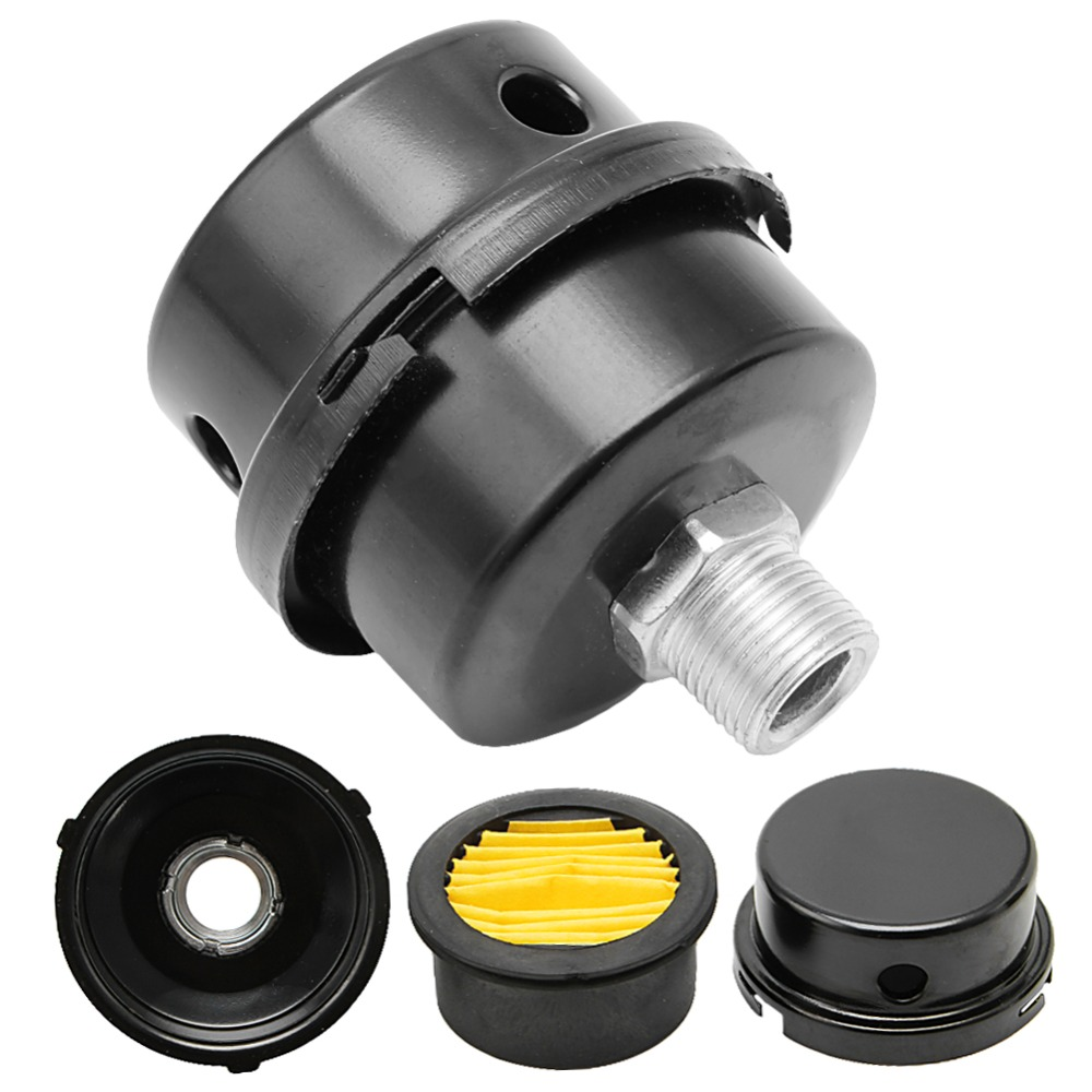12.5mm 16mm 20mm Air Compressor Parts Metal Air Compressor Intake Filter Noise Muffler Silencer 1/2'' 5/8 3/4'' Thread  -Y122 epman universal 3 aluminium air filter turbo intake intercooler piping cold pipe ep af1022 af