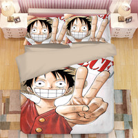 LLANCL One piece Printed Cartoon Quilt/Duvet/Comforter cover Adult Bedroom 3pcs Polyester Christmas Gift Children Students